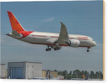 Air India 787 Wood Print by Jeff Cook