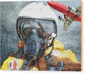 Air Pilot Wood Print by Liane Wright