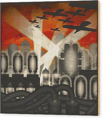 Wood Print featuring the digital art Air Raid by Milton Thompson