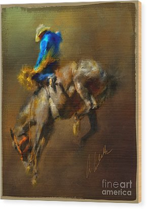 Airborne Cowboy Wood Print by Andrea Auletta