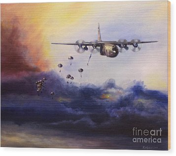 Airborne Jump Wood Print by Stephen Roberson