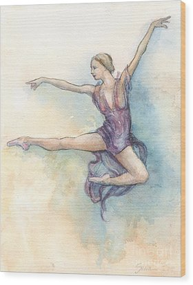 Wood Print featuring the painting Airborne by Lora Serra