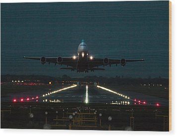 Airbus A380 Take-off At Dusk Wood Print