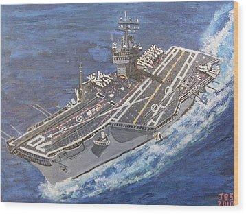 Aircraft Carrier Cvn-70 Carl Vinson Wood Print by Jose Bernal