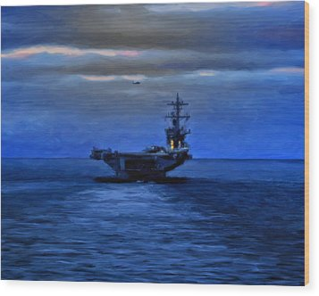Aircraft Carrier Wood Print by Michael Pickett