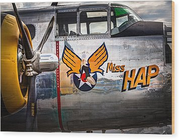 Aircraft Nose Art - Pinup Girl - Miss Hap Wood Print