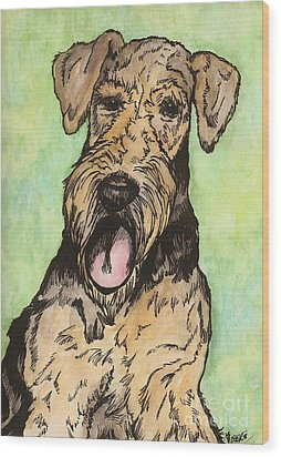Airedale Ink Wood Print