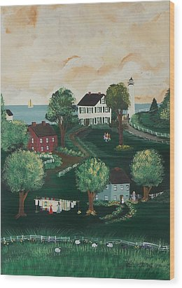 Wood Print featuring the painting Airing Out The Quilts by Virginia Coyle