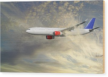 Airplane Flying Into Clouds Close-ups Wood Print by Christian Lagereek
