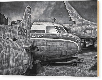 Airplane Graveyard - Black And White Wood Print by Gregory Dyer