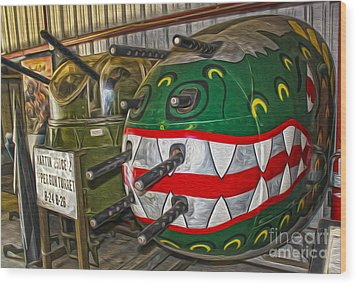Airplane Nose Gun Turret Wood Print by Gregory Dyer