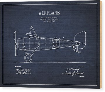 Airplane Patent Drawing From 1918 Wood Print by Aged Pixel