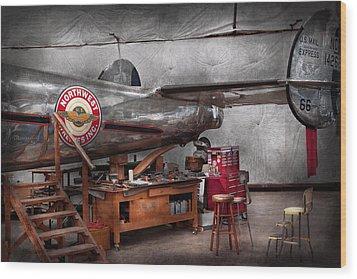 Airplane - The Repair Hanger  Wood Print