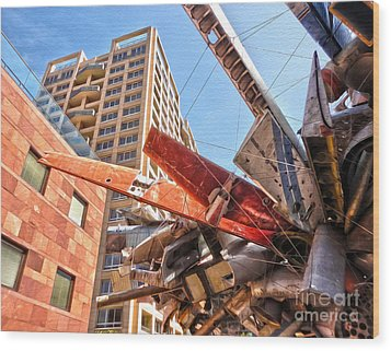 Airplane Wreckage Sculpture Outside Museum Of Contemporary Art - 02 Wood Print by Gregory Dyer