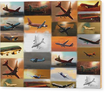 Airplanes Collage Wood Print by Marcello Cicchini
