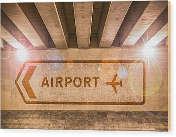 Airport Directions Wood Print by Semmick Photo