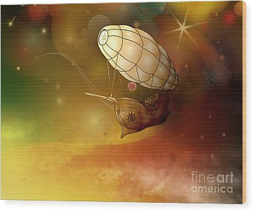 Airship Ethereal Journey Wood Print