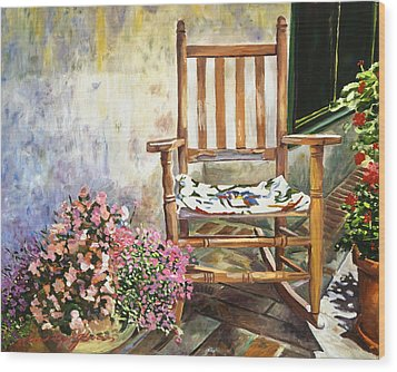 Aix Country Patio Wood Print by David Lloyd Glover