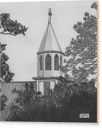 Wood Print featuring the drawing Ajeltake Steeple by Lew Davis