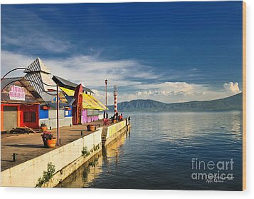 Wood Print featuring the photograph Ajijic Pier - Lake Chapala - Mexico by David Perry Lawrence