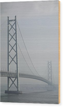 Akashi Kaikyo Suspension Bridge Of Japan Wood Print by Daniel Hagerman