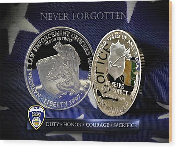 Akron Police Memorial Wood Print by Gary Yost