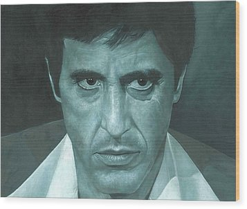 Wood Print featuring the painting Al Pacino 'scarface'  by David Dunne