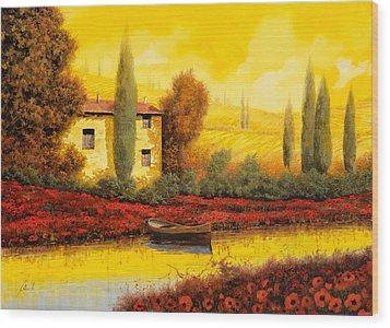 Al Tramonto Sul Fiume Wood Print by Guido Borelli