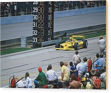 Al Unser Sr. Driving Thru Pit Lane Wood Print