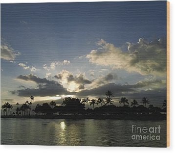 Wood Print featuring the photograph Ala Wai Skies by Laura  Wong-Rose