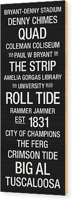 Alabama College Town Wall Art Wood Print by Replay Photos