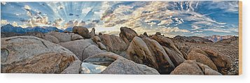 Alabama Hills Sunset Wood Print by Cat Connor