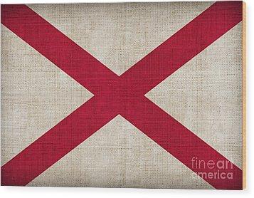 Alabama State Flag Wood Print by Pixel Chimp