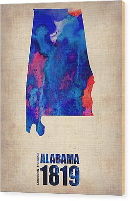 Alabama Watercolor Map Wood Print by Naxart Studio