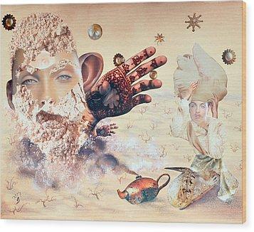 Aladdin And The Magic Lamp Wood Print by Nekoda  Singer