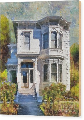 Wood Print featuring the painting Alameda 1880 - Queen Anne  by Linda Weinstock