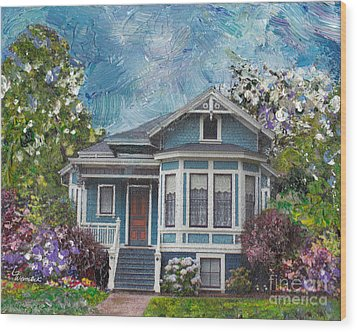 Wood Print featuring the painting Alameda 1884 - Eastlake Cottage by Linda Weinstock