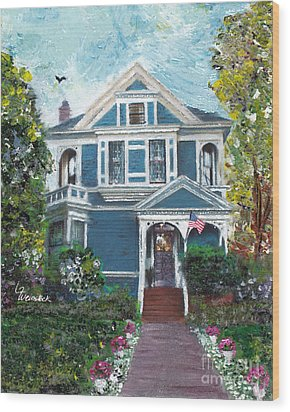 Wood Print featuring the painting Alameda 1887 - Queen Anne by Linda Weinstock