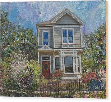 Wood Print featuring the painting Alameda 1892 Queen Anne by Linda Weinstock