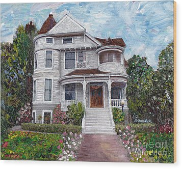 Wood Print featuring the painting Alameda 1897 - Queen Anne by Linda Weinstock