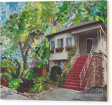 Wood Print featuring the painting Alameda 1908 Duplex by Linda Weinstock