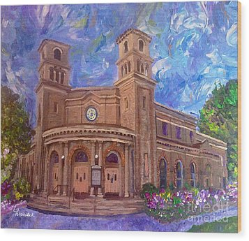 Wood Print featuring the painting Alameda 1909  Twin Towers Church - Italian Renaissance  by Linda Weinstock