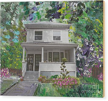 Wood Print featuring the painting Alameda 1933 Duplex - American Foursquare  by Linda Weinstock