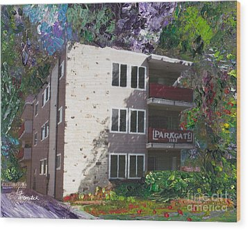 Wood Print featuring the painting Alameda 1964 Apartment Architecture   by Linda Weinstock