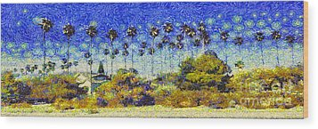 Wood Print featuring the painting Alameda Famous Burbank Palm Trees by Linda Weinstock