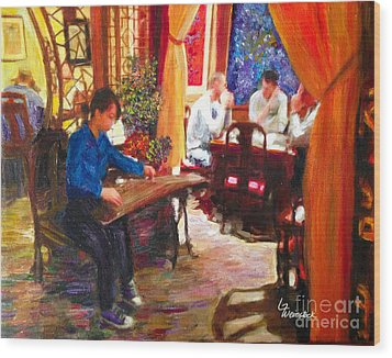 Wood Print featuring the painting Guzheng by Linda Weinstock