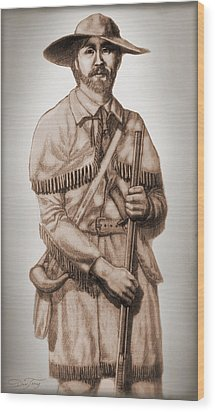 Alamo Defender Frontiersman Wood Print by Dan Terry