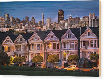 Alamo Square - Painted Ladies Wood Print