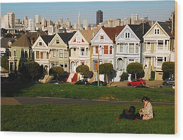 Wood Print featuring the photograph Alamo Square San Francisco by James Kirkikis