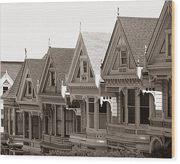 Alamo Square - Victorian Painted Ladies 2009 Wood Print by Connie Fox